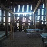 View inside the barn during the harvest