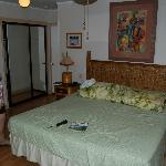 King size bed, ample storage, mini fridge
