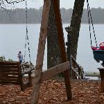 Baby swing overlooking the lake