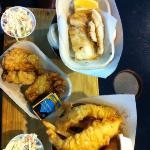  cod, yam fries, deep fried oysters