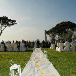Outdoor ceremony on villa grounds