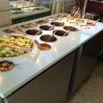 "This is the ""salad bar."" Very tiny, and not as clean as it looks in this picture."