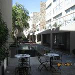 Courtyard, pool and outdoor seating