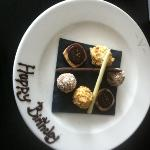  surprised with birthday chocolates in the room