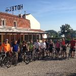 hotel bal - our cycling group with restaurant in background