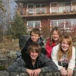 Kids in front of the lodge