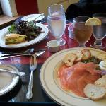 Quiche and smoked salmon platter.