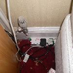 extension leads at side of bed