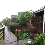 Wooden walkway to the chalets