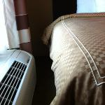 no room between A/C & king bed (King Suite)