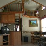  Pictured is the kitchen and loft area in one of our cabins. Loft hasTV, &amp; bean bag chair, for ki