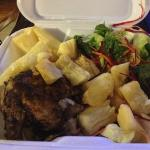 1/4 white chicken with yucca and side salad