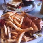 Cheeseburger & French Fries! and a Toasted BLT with a cup of Vegetable Soup & Cornbread!
