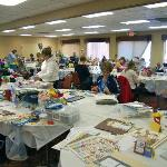 Scrapbooking retreat in conference room