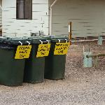 The three bins for the Caravan Park - recycling is environmentally friendly