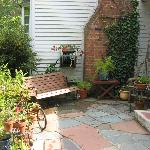 a view of the front patio area of the B&B