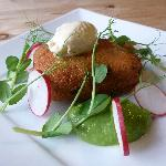  Crisp Croquette of Beer Braised Oxtail with Pea Mouse, Radishes &amp; Horseradish Cream