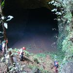 At the bottom of the vertical cave and attempting to enter the 2nd cave, the horizontal one.