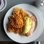 Pork omlette (bacon, peameal, prosciutto) and cross-cut fries