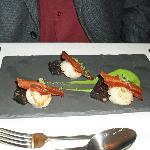Scallops, pea puree, black pudding and pancetta