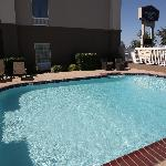 Newly renovated outdoor pool and lounge chairs