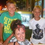 Grandsons with their NEW Friend, Lauren, who they met in Shadows Bar