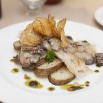 Pickerel with mushrooms