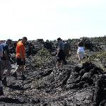 hiking over a lava flow to the crater