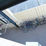 View from 105 - courtyard below for securing bikes, drying washing