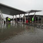 Getting to the Waterbus stop during the Alta Marea. Wellies needed!