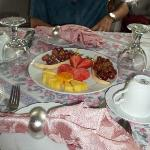 Starting out breakfast with freshly cut fruit