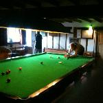 Huge, full sized snooker table with all equipment plus fussball, darts, jukebox...