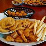 Scallops,clams,fries,hushpuppies and squash