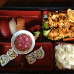 Sushi (salmon/tuna/tilapia), California rolls and rice