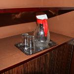  Water jug with glasses but no in-room drinking water provided