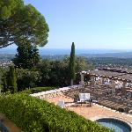 view from our suite balcony over the breakfast terrace and onto to the Riviera