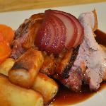 Sunday roast pork with pickled red wine pear