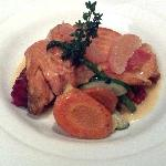 Fish du jour... Sea Trout over root vegetables. Tremendous flavor!