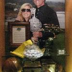 One of the pictures in the Pebble Beach Golf Club - Phil Mickelson and his wife, Amy.