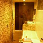 The long bathroom with the rain shower - your hair gets wet easily so wear that shower cap!