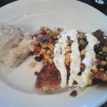 Chicken with corn and bean salsa, mashed potato