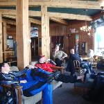 Enjoying the spacious lobby of the Soda Butte