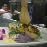  stuffed swordfish over purple Peruvian potatoes