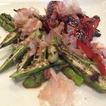 Grilled Okra, Asparagus and Red Pepper with Dried Sea Bass Salad