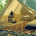 A bell tent for a couple with 2 meditation chairs
