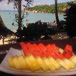 Delicious fruit platter from restaurant patio overlooking beach