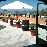 the terrace with a stunning view towards the mountains