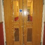  just one set of the badly bashed doors in the corridor