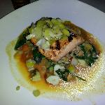 grilled salmon with farro risotto