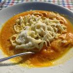  Pumpkin soup with fresh pasta noodles